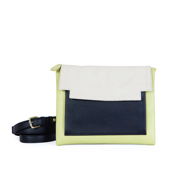 May Clutch in Lime, Marble and Black