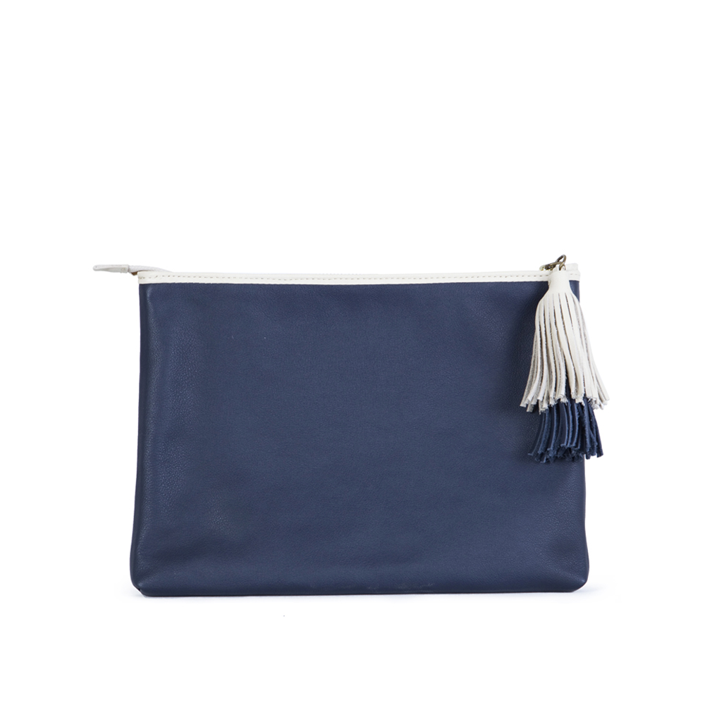 The Slip with the double tuft in Navy Blue & Marble