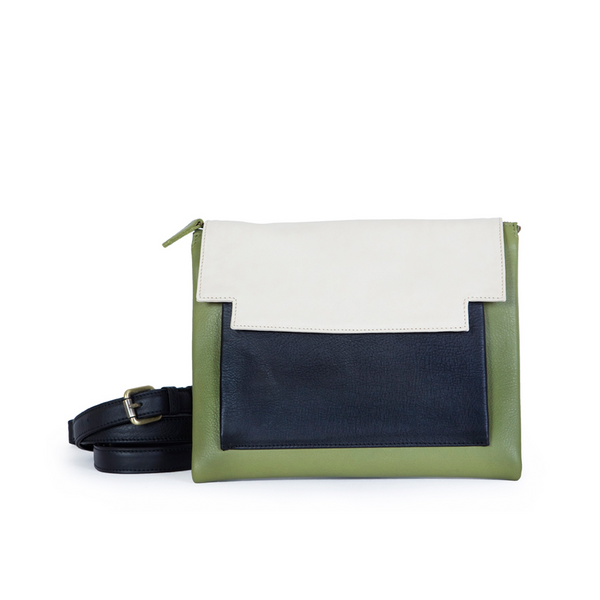 May Clutch in Olive, Marble and Black