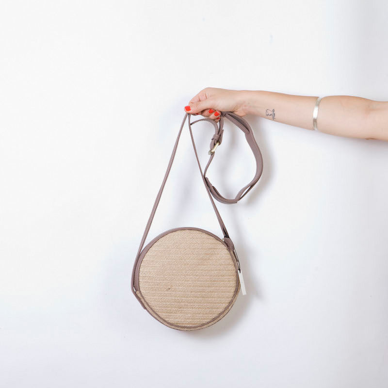 Aruba 'O' Bag in Natural Straw & Taupe