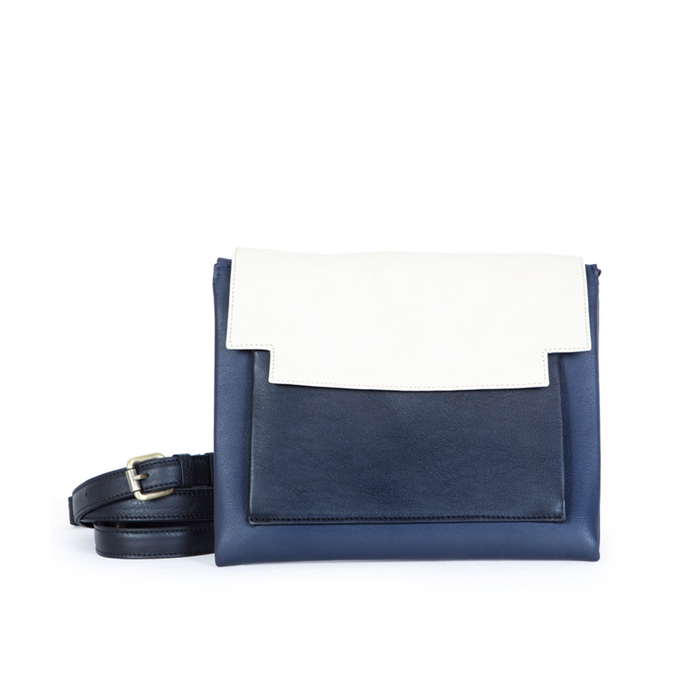 May Clutch in Navy Blue, Marble and Black