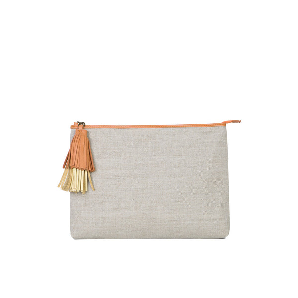 The Slip Ochre Linen with the double tuft in Mandarin & Sun