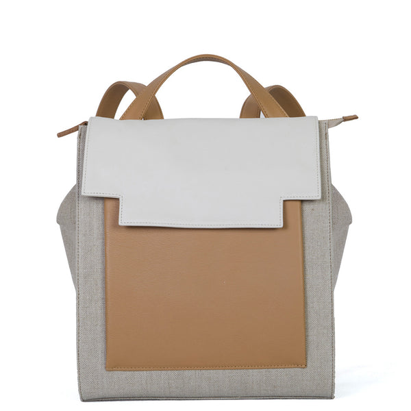 May Backpack in Ochre Linen, Tabac & Cream