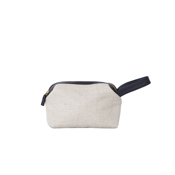 The Pouch in Ochre Linen & Black