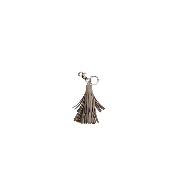 The Tassel Key Ring in Taupe