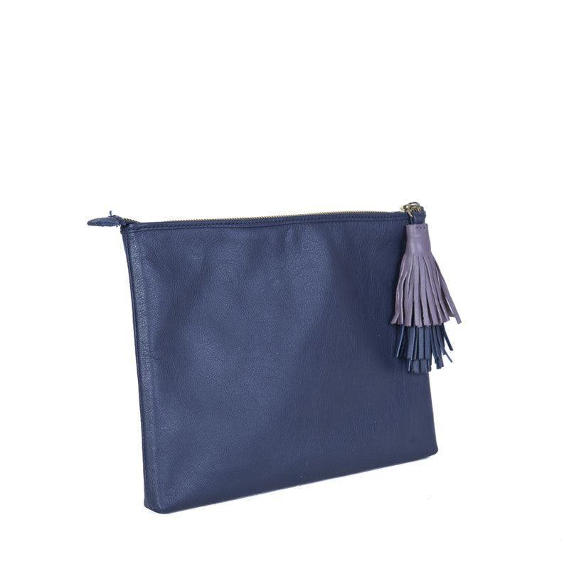 The Slip with the double tuft in Navy Blue & Lavender