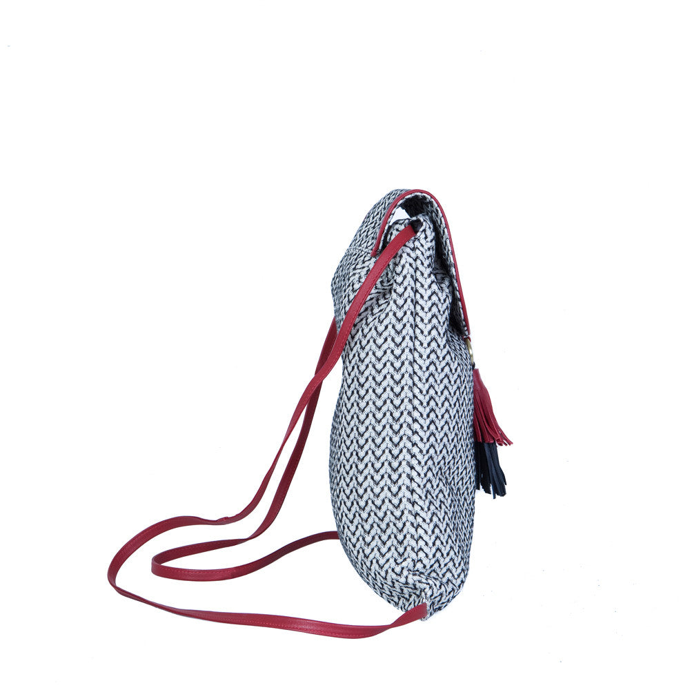 The Backsack in Black & White with the Cherry Red & Black Tuft