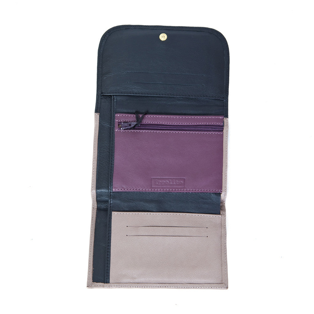 Rawan Wallet in Black, Taupe & Aubergine