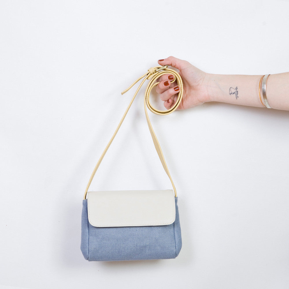 Eda Mini in Light Blue Linen, Cream & Sun