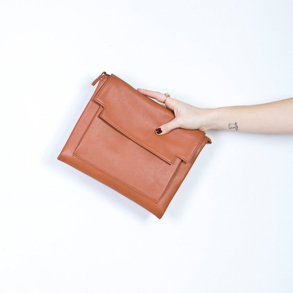 May Clutch in Brandy