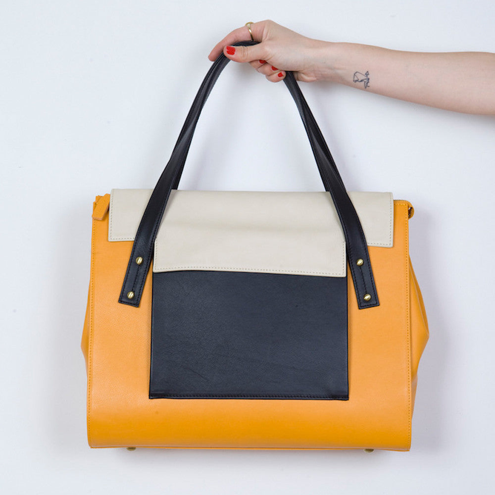 May Tote in Apricot, Marble and Black