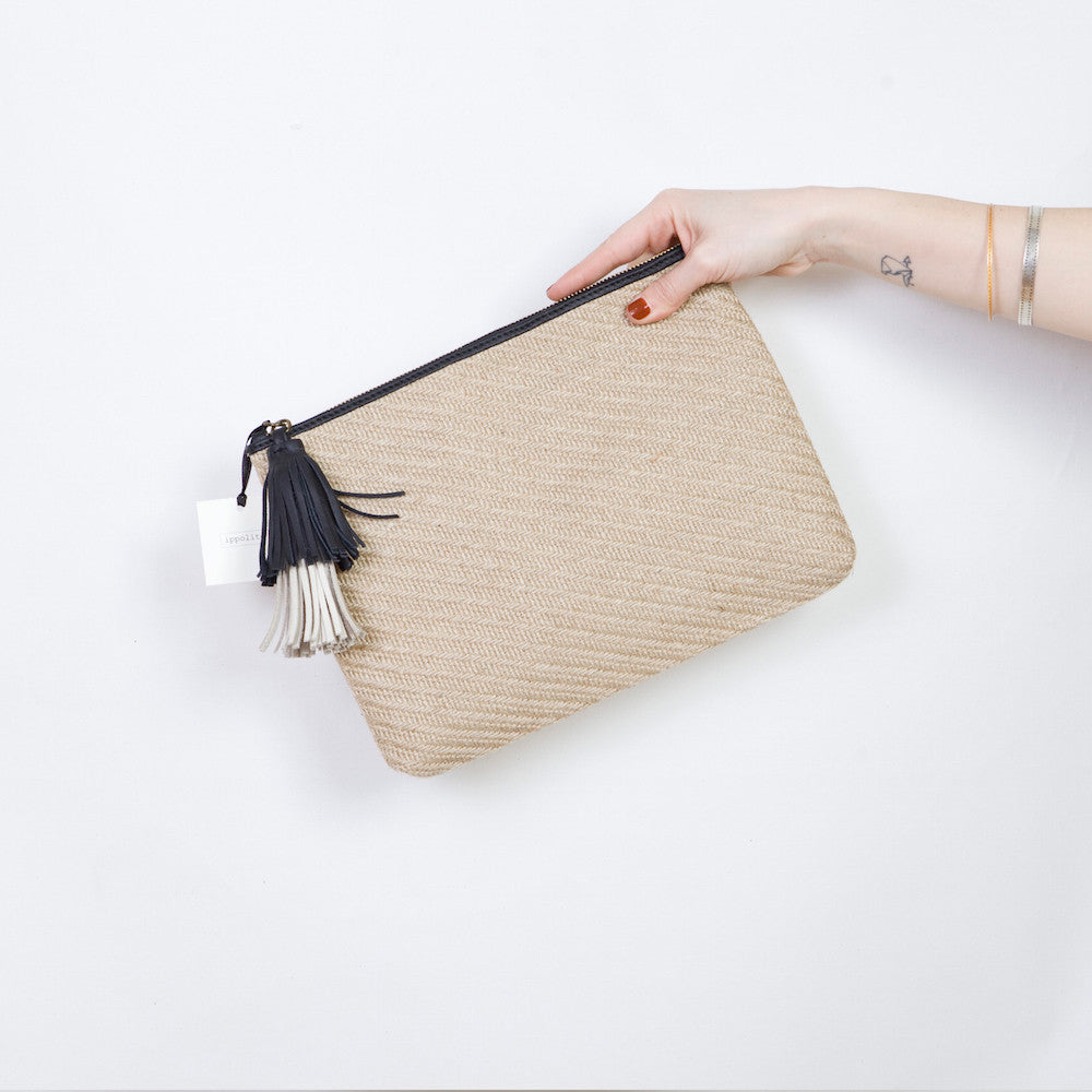 The Slip in Natural Straw with the double tuft in Black & Cream