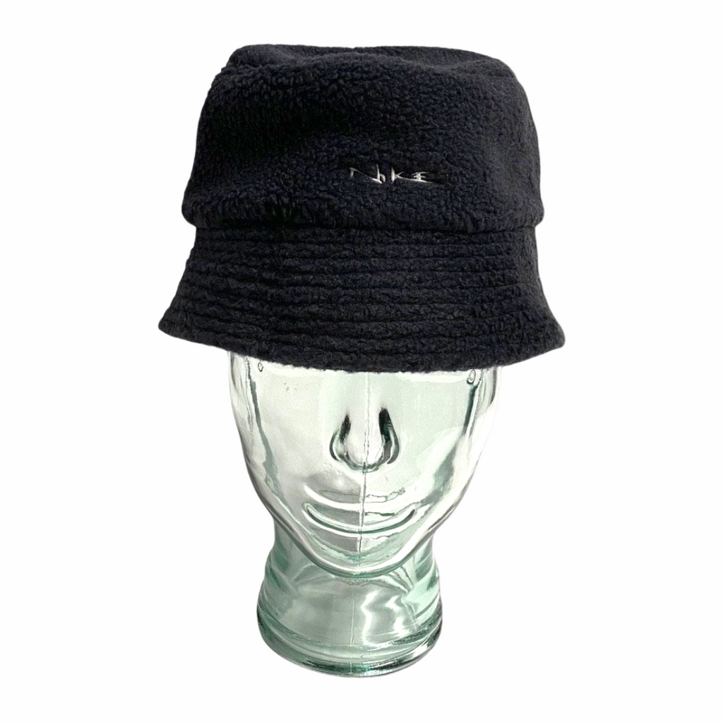 Early 2000's Nike Shearling Bucket Hat in Black