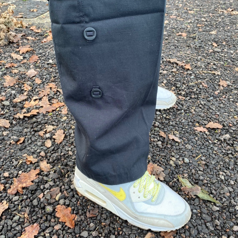 Vintage early 2000's Nike cargo trousers track pants with military pockets in Black