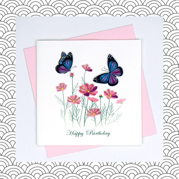 Birthday Butterflies  - Quilling Card