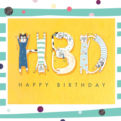HBD Cats - Recycled Paper Card