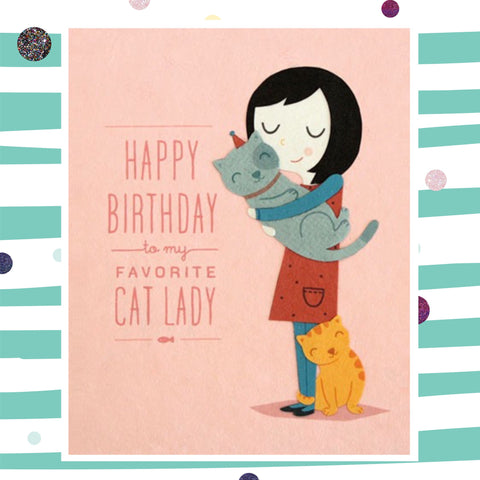 Cat Lady Birthday - Recycled Paper Card