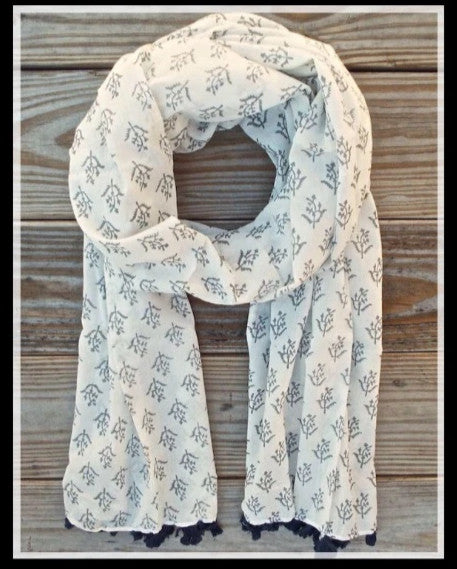 Channa Cotton Hand Block Print White/Grey Scarf
