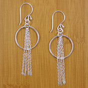 Sterling Silver Hoop and Chain Earrings