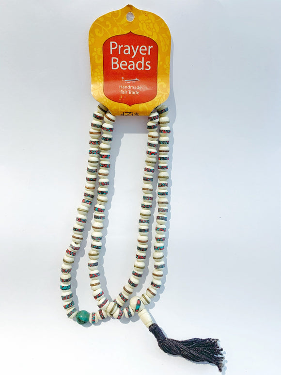 Prayer Bead Necklace - White with Bone Inlay