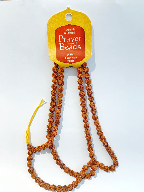 Prayer Bead Necklace - Burnt Orange (Rudraksha)