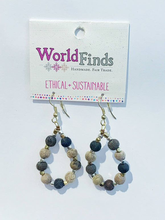 Kantha Bead Jewelry - Grey Drop Earrings