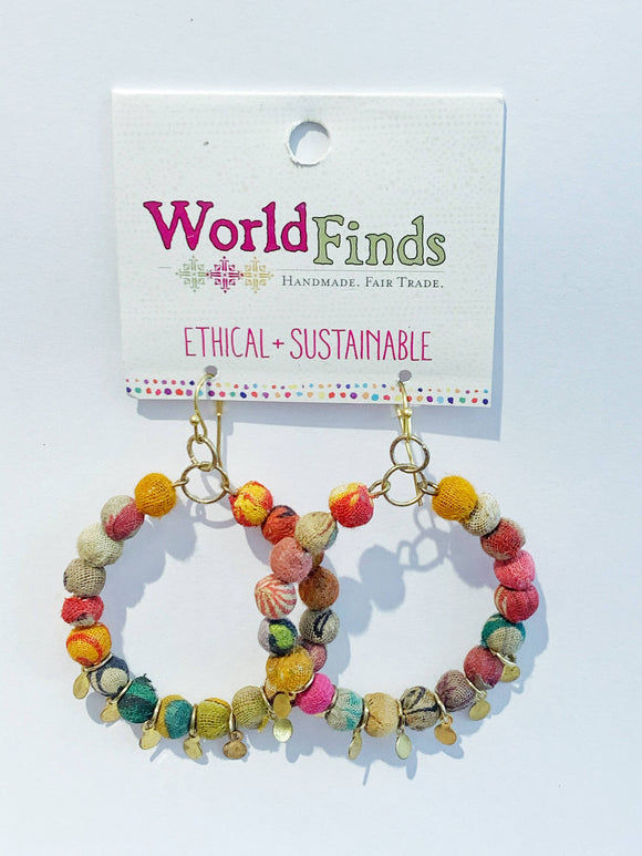 Kantha Bead Jewelry - Bead Hoop Earrings