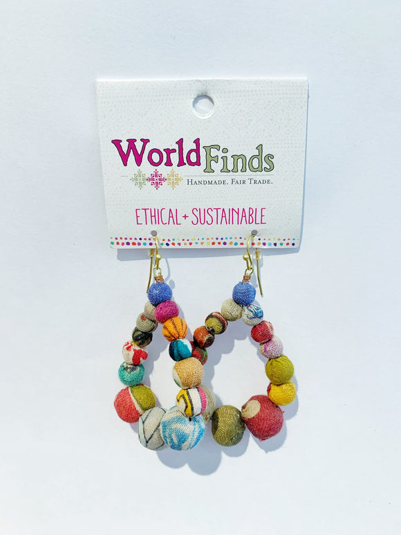 Kantha Bead Jewelry - Teardrop Earrings