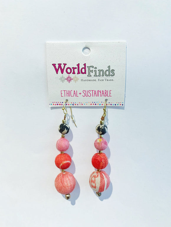Kantha Bead Jewelry - Graduated Earrings