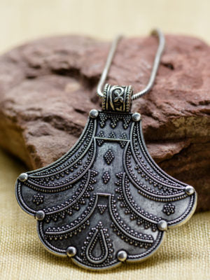 Silver Fan Pendant Necklace
