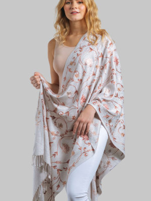 Flower Embroidered Shawl
