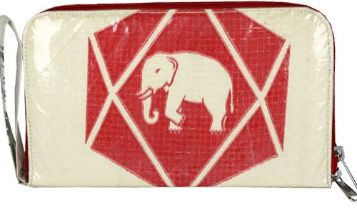 Recycled Cement Bag Elephant Wristlet