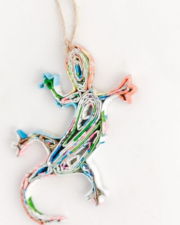 Recycled Paper Ornaments - Lizard