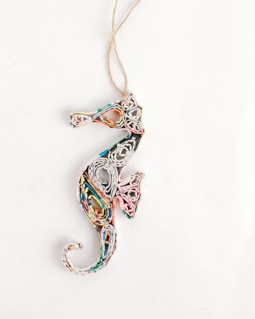Recycled Paper Ornaments - Seahorse