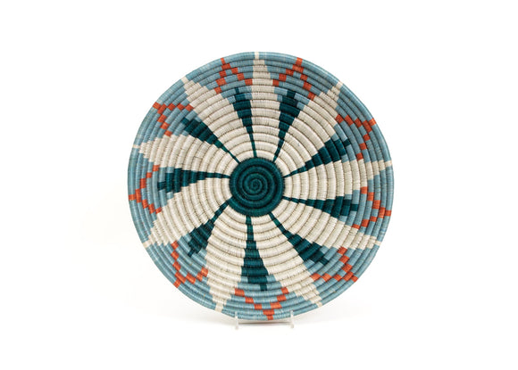 Sisal Bowl - Blue/Teal Flower