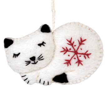 Wool Ornament - Snowflake Cat