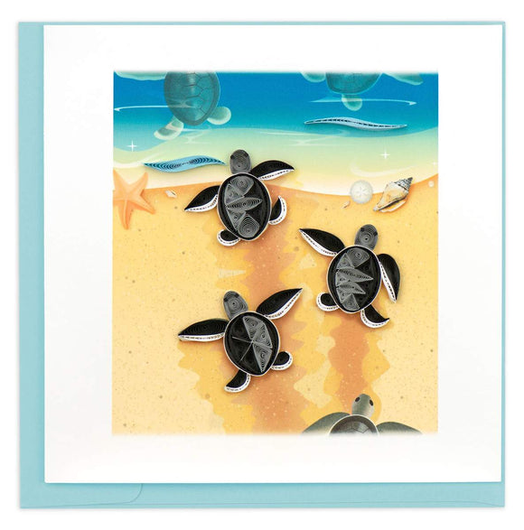 Sea Turtle Hatchlings - Quilling Card
