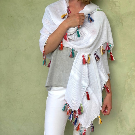 White/Multi-Colored Wrap Scarf