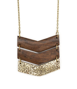 Wood and Brass Chevron Necklace
