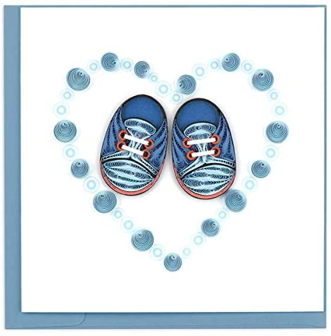 Blue Baby Booties - Quilling Card