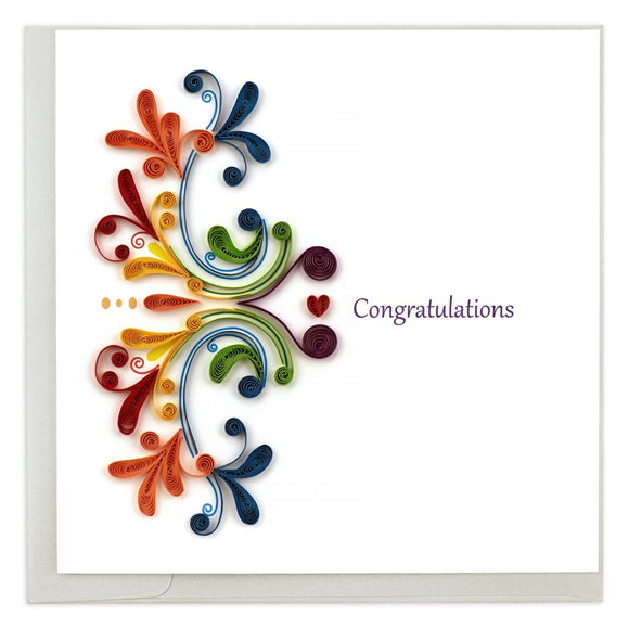 Congratulations Rainbow - Quilling Card