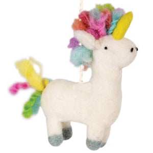 Wool Ornament - Rainbow Unicorn