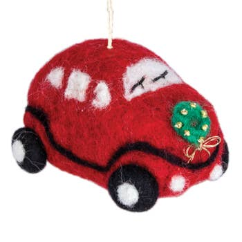 Wool Ornament - Red Love Bug