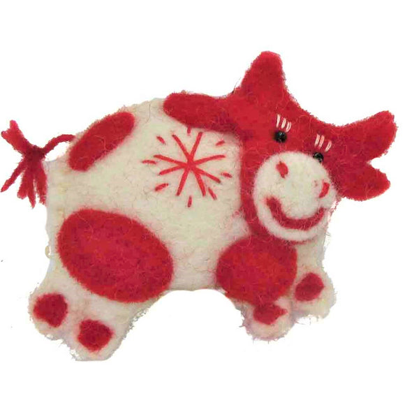 Wool Ornament - Red Cow