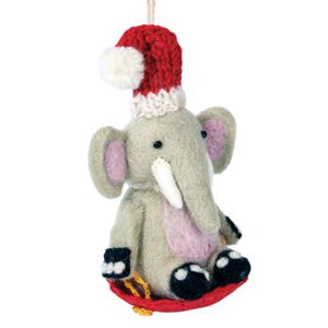 Wool Ornament - Sled Elephant