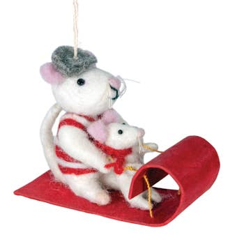 Wool Ornament - Sled Mice