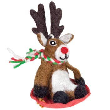 Wool Ornament - Sled Reindeer