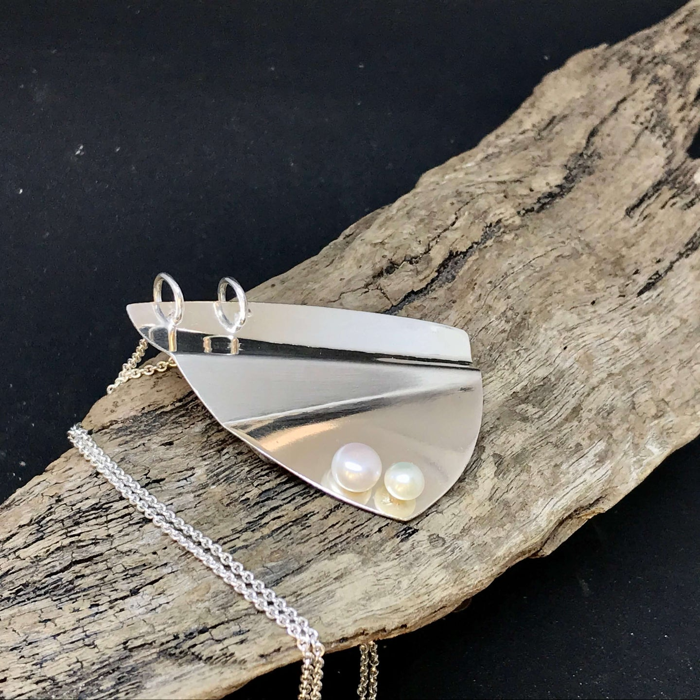 Sterling Silver Pendant with 2 Pearls