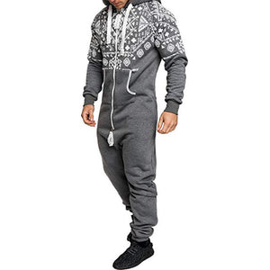 Mens Casual Hooded Loungewear Pure Color Siamese Overalls Sports Jumpsuit
