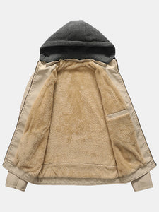 Men's warm leather jacket with a hood